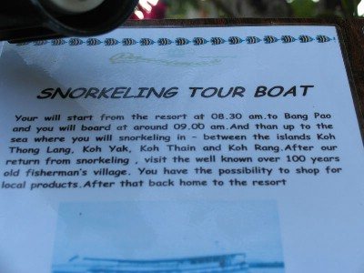 Snorkeling Tour Boat
